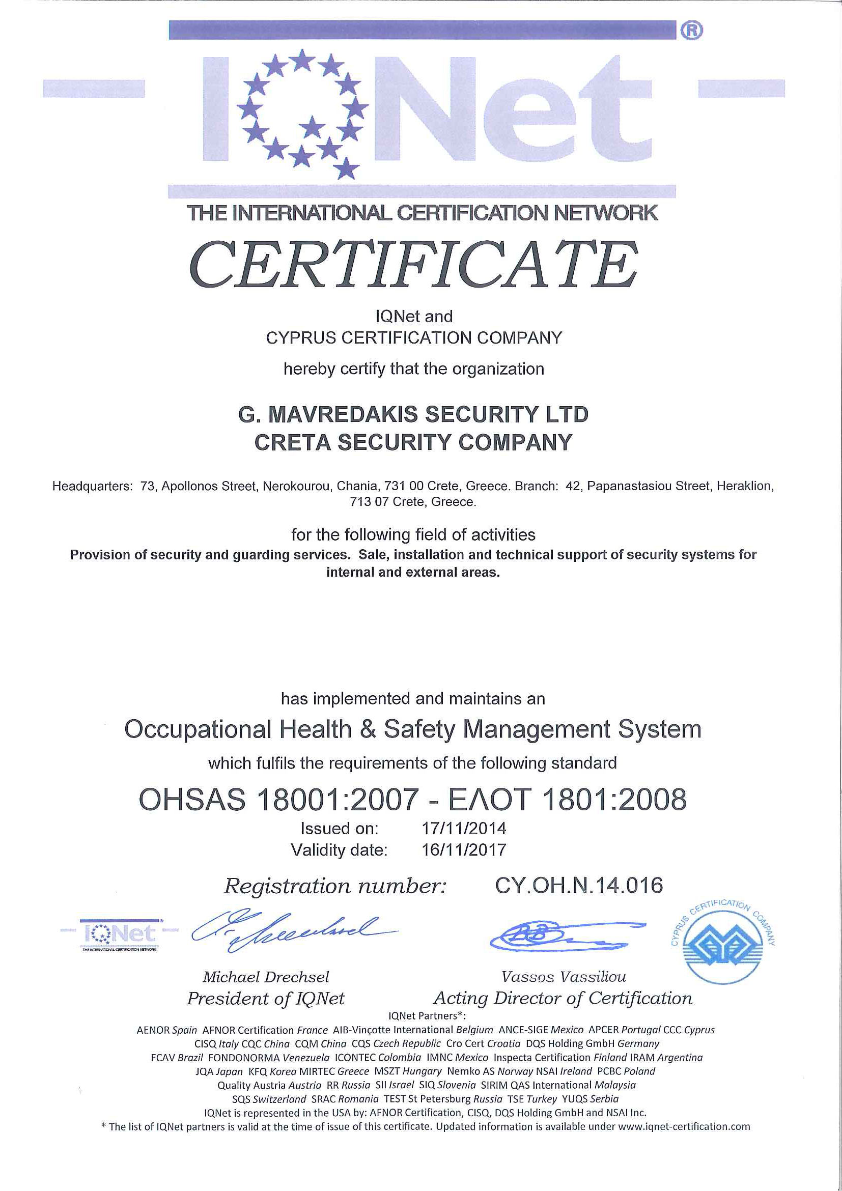 IQNet CERTIFICATE_OHSAS_180010001